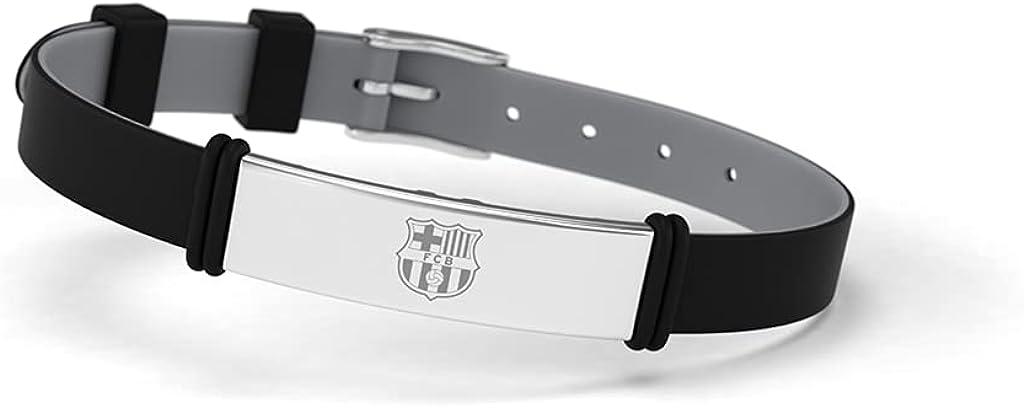 Pulsera Fútbol Club Barcelona Fashion Negra Escudo Ajustable para Hombre, Mujer y Niño | Pulsera Barça de silicona y acero inoxidable | Apoya al FCBarcelona con un producto oficial culé |FCB