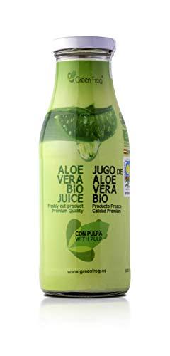 Green Frog Jugo de Aloe Vera Bio con Pulpa - Producto Fresco - Aloe Vera 99,8% Calidad Premium - 500 ml (Con Pulpa, 1 Botella 0,5 L)