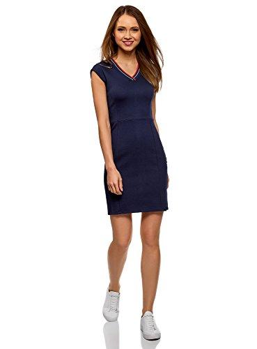 oodji Ultra Mujer Vestido Ajustado con Escote en V, Azul, ES 36 / XS