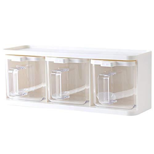 Meijin Estante de especias con 3 rejillas cuchara de cocina con tapa contenedor de condimentos de hierbas y especias de almacenamiento de condimentos frasco de cocina con asa de escritorio