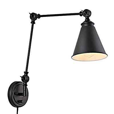 WINGBO Industrial Wall Sconce with ON/Off Switch, Edison Vintage Style Swing Arm Wall Lamp (Bulb Not Included)