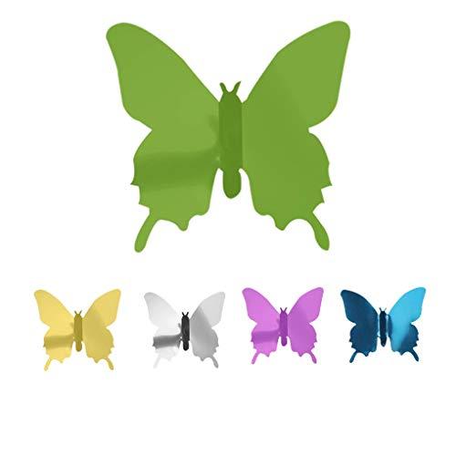 Insectos Adhesivos Decorativos Adhesivos de plástico del Espejo Pegatinas de Pared 3D para Ministerio del Interior, Verde, 48pcs