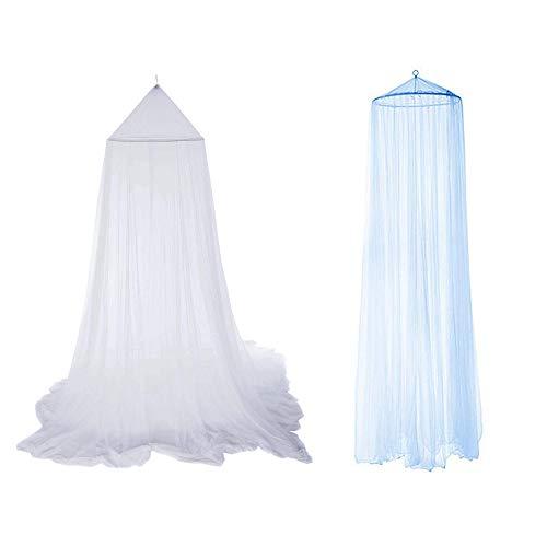 2 Piezas Mosquiteras de Exterior/Verano,Mosquitera Blanca/Azul Tapa de Red con Dosel de Poliéster 9 * 2,4 m Evitar los Insectos Instalación rápida, Sin Adición de Químicos(Suspensión de Cúpula)