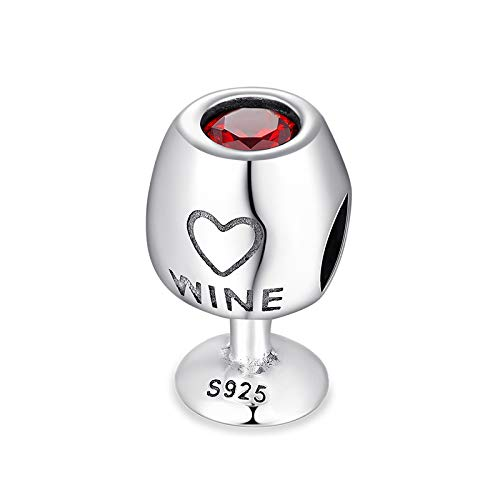 GoT Charm Weinglas 925 Sterling Silber – 2 x 1 kaufen Sie ein und tragen Sie zwei – für Damen-Armband – rotes Glas – kompatibel mit Pandora – inklusive Stoff-Geschenktasche