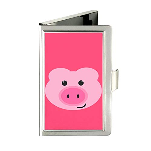 Tarjetero de Acero Inoxidable con diseño de Cerdito Rosa, Personalizable, Color Plateado