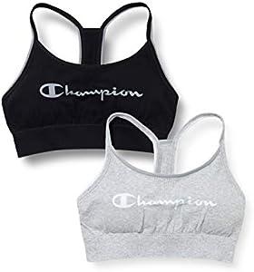 Champion The Seamless Fashion Bra X2 Sujetador Deportivo, Multicolor (Noir/Gris Clair 9rj), Medium (Pack de 2) para Mujer