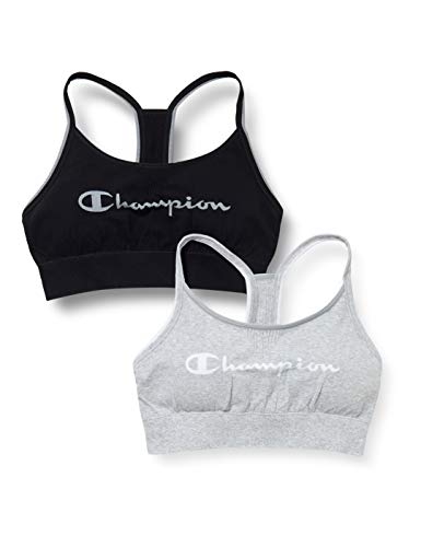Champion Damen The Seamless Fashion Bra X2 Sport-BH, Mehrfarbig (Noir/Gris Clair 9rj), Small (2er Pack)