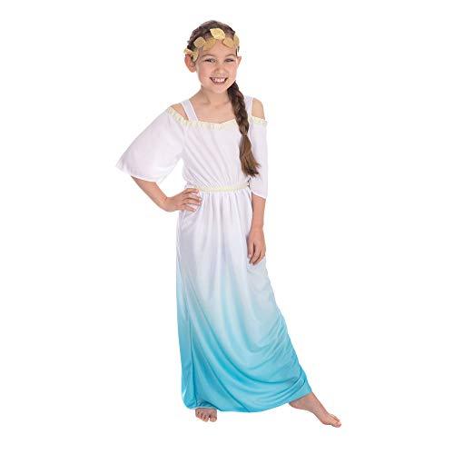 Bristol Novelty - Disfraz de Diosa Romana para nio nia (XL) (Blanco/Azul/Dorado)