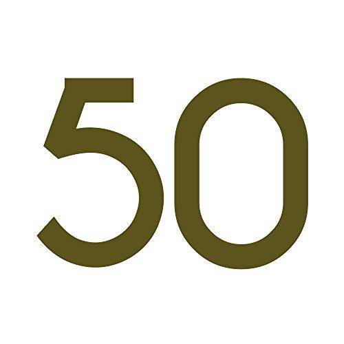 Zahlenaufkleber Nummer 50, gold, 10cm (100mm) hoch, Aufkleber mit Zahlen in vielen Farben + Höhen, wetterfest