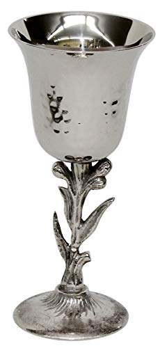 Majestic Giftware KC10072 Kiddush Cup Floral Stem Hammered Nickel 6.75