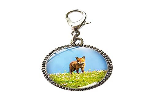 Lindo Fox Animal Glass Art Photo Charm pulsera colgante cremallera tire encanto con cierre de langosta cremallera tire joyería