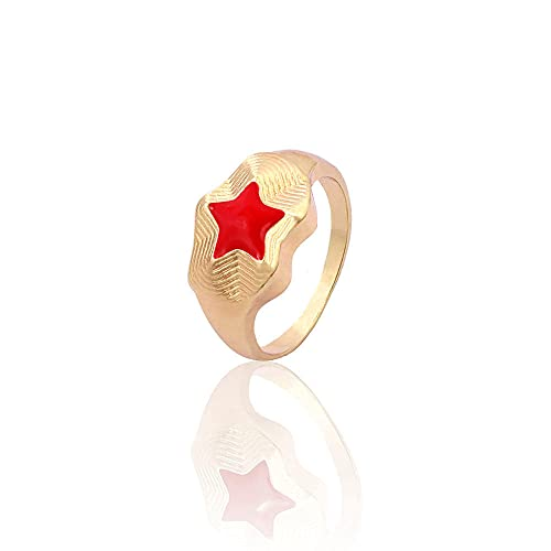 DGSDFGAH Ring For Women Red Cute Metal Ring For Men And Women Star Ring Party Jewelry Gift Jewelry