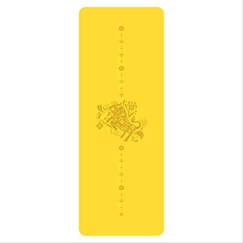 YALINA Esterilla De Yoga - Esterilla De Yoga Antideslizante Y Ecológica De PU, Adecuada para Deportes, Gimnasia, Pilates 183 * 68 * 0.5cm Amarillo