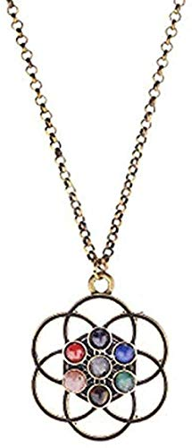 N-G Necklace Modern Fashion Exquisite Necklace Hollow Gold Mandala Flower of Life Modern Fashion Exquisite Necklace Stone Aura Buddha Yoga
