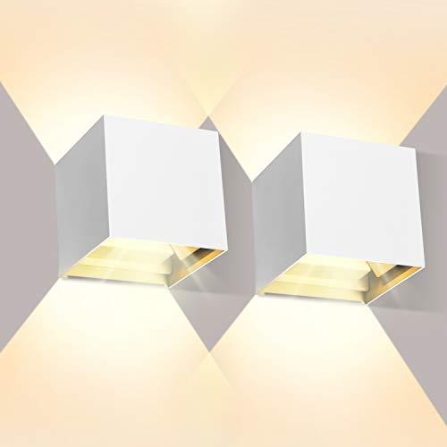 LEDMO 2 Pcs 12W Aplique pared LED Blanco Cálido 3000K 1000lm Lampara de pared Interior/Exterior Impermeable IP65 Ángulo ajustable Lámpara Pared Blanco