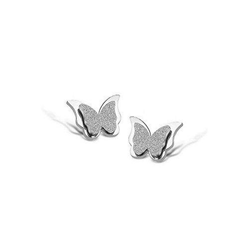 Emma Gioielli - Orecchini Da Donna Fissi in Acciaio Chirurgico di ALTA QUALITA' Lucido e Glitterato Farfalla Farfalle - Confezione Regalo