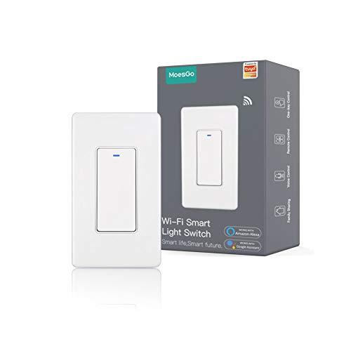 MoesGo WiFi Wall Push Button Smart Light Switch No Screw Panel Smart Life/Tuya Wireless Remote Control Single Pole or 3-Way Multi-Control Association Voice Control with Alexa,Google Home White 1 Gang