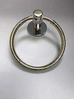 Atlanta (by Baldwin Hardware) Towel Ring - Split Finish - Polished Brass/Polished Chrome