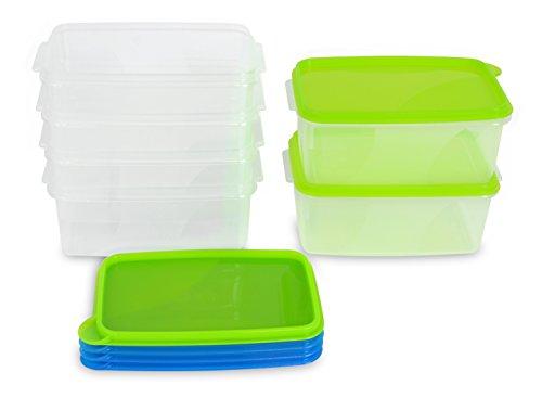 Kigima Frischhaltedose Gefrierbehälter 0,75l Rechteckig 15x10x7 cm 6er Set blau und grün