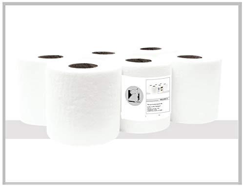 Rollo papel secamanos tipo mecha 135m, fabricado con 2 capas laminadas de celulosa virgen (Pack de 6 rollos)