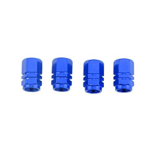 B Blesiya Blue-4pcs Tapas de Vástago de Válvula de Neumático Coche Camión Bicicleta Tornillo Cubierta Antipolvo