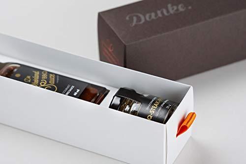 """Dankebox """"Rheinland Barbecue"""" - inkl. Grußkarte - Präsentbox mit BBQ-Sauce und Steak-Pfeffer-Gewürzmischung - Geschenk zum Danke sagen"""