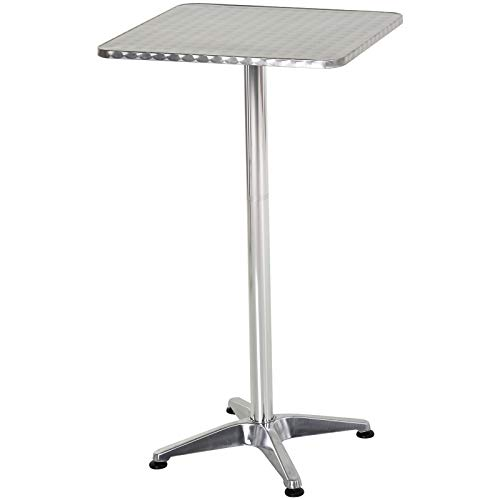 HOMCOM Height Adjustable Bistro Table Pub Bar Square Table Stainless Steel Top Aluminium Edge 60 x 60cm