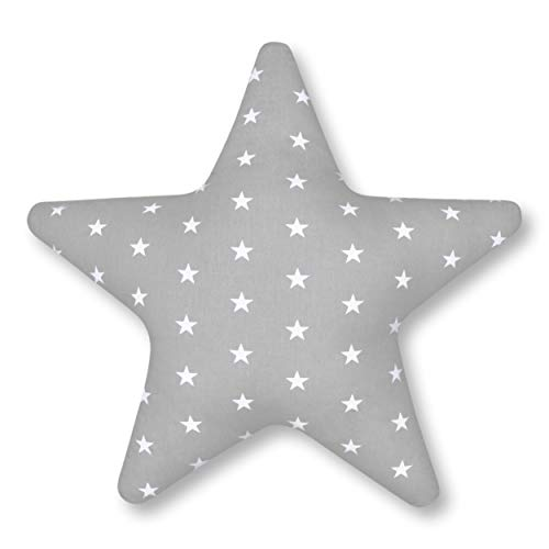 Amilian® Kissen Stern Sternchen Grau Dekokissen Kuschlig Flauschig ca. 60 cm