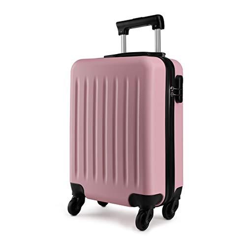Kono Hartschale Koffer Trolley Rollkoffer Zwillingsrollen ABS Handgepäck Bordgepäck 4 Rollen, 48cm 20 Zoll(Pink)