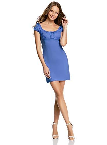 oodji Ultra Damen Baumwoll-Kleid mit Raffungen an der Brust, Blau, DE 34 / EU 36 / XS