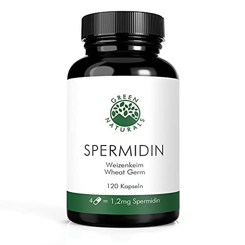 Spermidin aus Weizenkeim-Extrakt, 1,2mg pro Tagesdosis (120 Kapseln á 660mg) - Deutsche Herstellung - 100% Vegan & Ohne Zusätze - Vorrat für 1 Monat