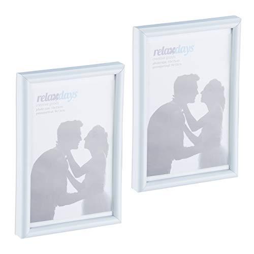 Relaxdays Bilderrahmen 2er Set, 10x15 cm, Passepartout 9x13 cm, Glasscheibe, Fotorahmen zum Stellen & Hinhängen, weiß