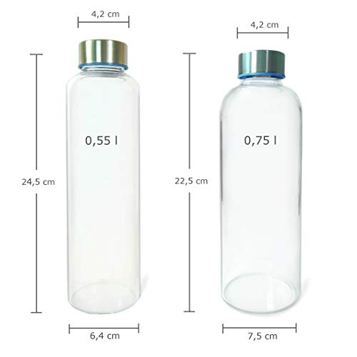 zumos Cepillo de Limpieza Wenburg Wolton Botella de Vidrio 550 ml // 750 ml Adecuado para Adultos cantimplora//Botella de Cristal para Agua licuados ni/ños t/é