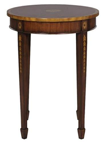 Casa Padrino Jugendstil Mahagoni Beistelltisch Braun/Gold Ø 51 x H. 69 cm - Kleiner Runder Beistelltisch mit Schublade