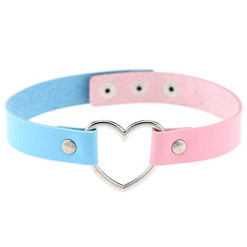 1 Pc Women Love Heart Choker Double Color PU Leather Collar Punk Collar Choker Necklace Heart Goth Fans Choker Necklace