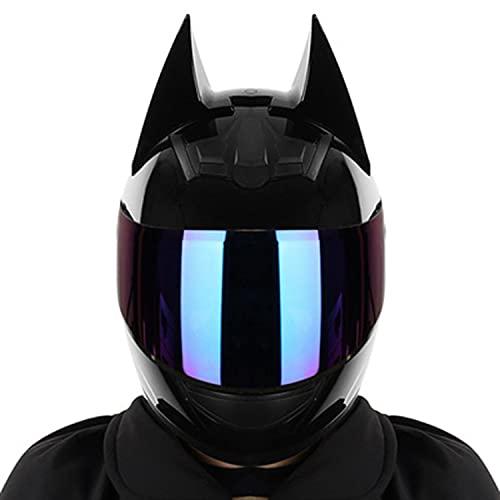 Casco Integral De Motocicleta, Orejas De Murciélago Casco Moto Con Visera Negra Para Hombres Y Mujeres Estilo Retro Oscuro Certificación ECE