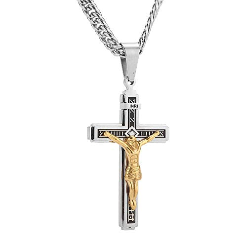 Naswi Collares con Colgante De Cruz Inri De Acero Inoxidable, Collar Cristiano De Oración De Jesús, Accesorios Colgantes De La Suerte para Hombres, Regalo