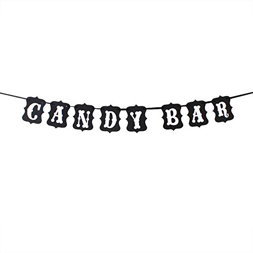 Candy Bar Wedding Birthday Party Decoration Bunting Banner Outdoor Indoor Sweet Sign (Black).
