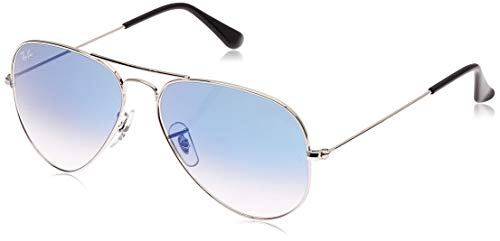Ray-Ban Aviator Large Metal, Gafas de sol para Hombre, Plateado (Light Blue Gradient), 58