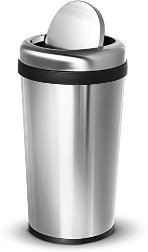 Home Zone Living 12 Gallon Kitchen Trash Can, Round Stainless Steel, Swing Top Lid, 45 Liter