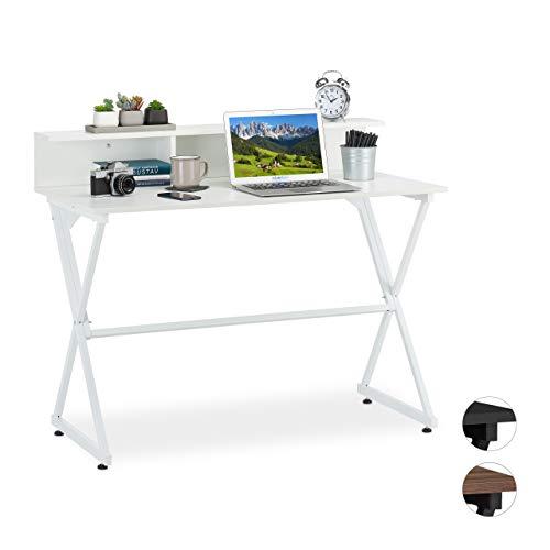 Relaxdays, 90 x 110 x 55 cm, Blanco Escritorio con Estante, Mueble de Oficina, Aglomerado, Hierro