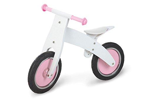 Pinolino Laufrad Pinky, aus Holz, unplattbare Bereifung, umbaubar vom Chopper zum Laufrad, für Kinder von 2 – 5 Jahren, weiß/rosa