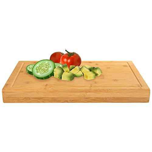 Holzbrett Küche Groß - Schneidebrett mit Anschlag aus Bambus - 45cm x 30cm x 2.5cm großes und robustes Küchenbrett / Küchenarbeitsplatte / Arbeitsbrett mit Saftrille /...