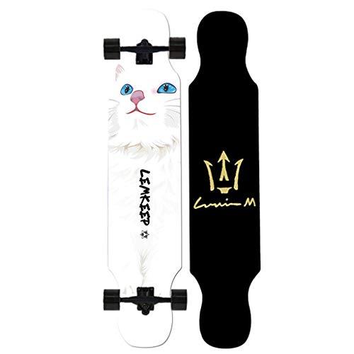 4 Wheels Osprey Complete Twin Tip Longboard Skateboard 8 Layers Decks Complete Cruiser 42.5x9.8 Inch Skate Board (Color : F)