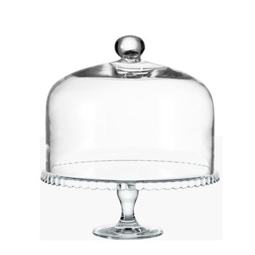 LEONARDO Glocke Cupola mit Knopf 29x22 cm mit Tortenplatte auf Fuß Set/2 TLG.
