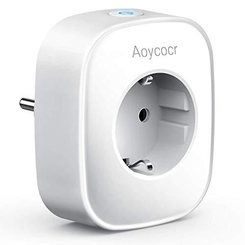 WLAN Smart Steckdose Intelligente Plug, Aoycocr WiFi Smart plug Stromverbrauch messen, Smart Home Steckdosen Funktioniert mit Alexa und Google Home, Fernsteurung, Timer Funktion, ohne Hub (1pack)