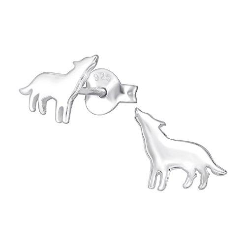 The Rose & Silver Company Women 925 Sterling Silver Wolf Stud Earrings