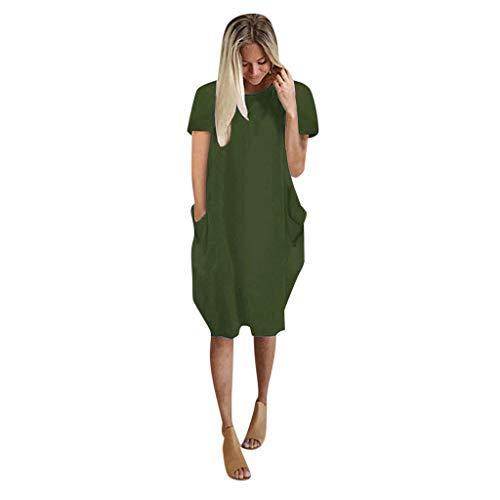 BIBOKAOKE Vestido de verano para mujer, talla grande, suelto, manga corta, de un solo color, con bolsillos, camisa de playa, informal, largo hasta la rodilla, vestido mediano.