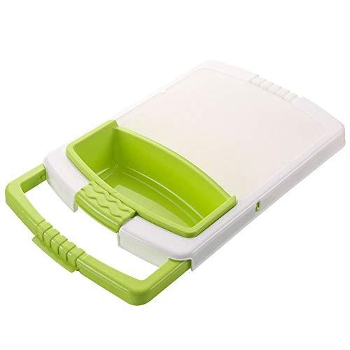 PPuujia Tabla de cortar multifunción para cocina, 3 en 1, cesta de almacenamiento para verduras, frutas, escurridor, cesta desmontable para el hogar (color verde)