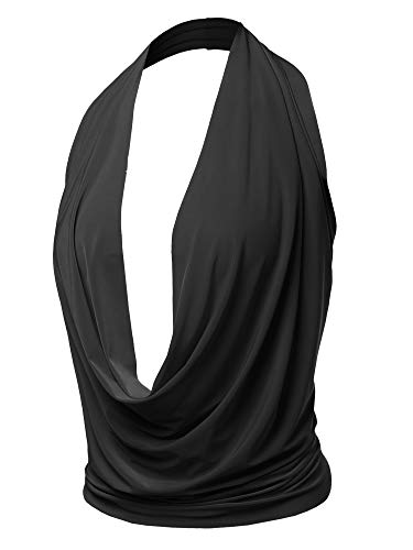 Sexy Drape Deep V-Neck Cowl Neckline Halter Backless Party Club Top Black S
